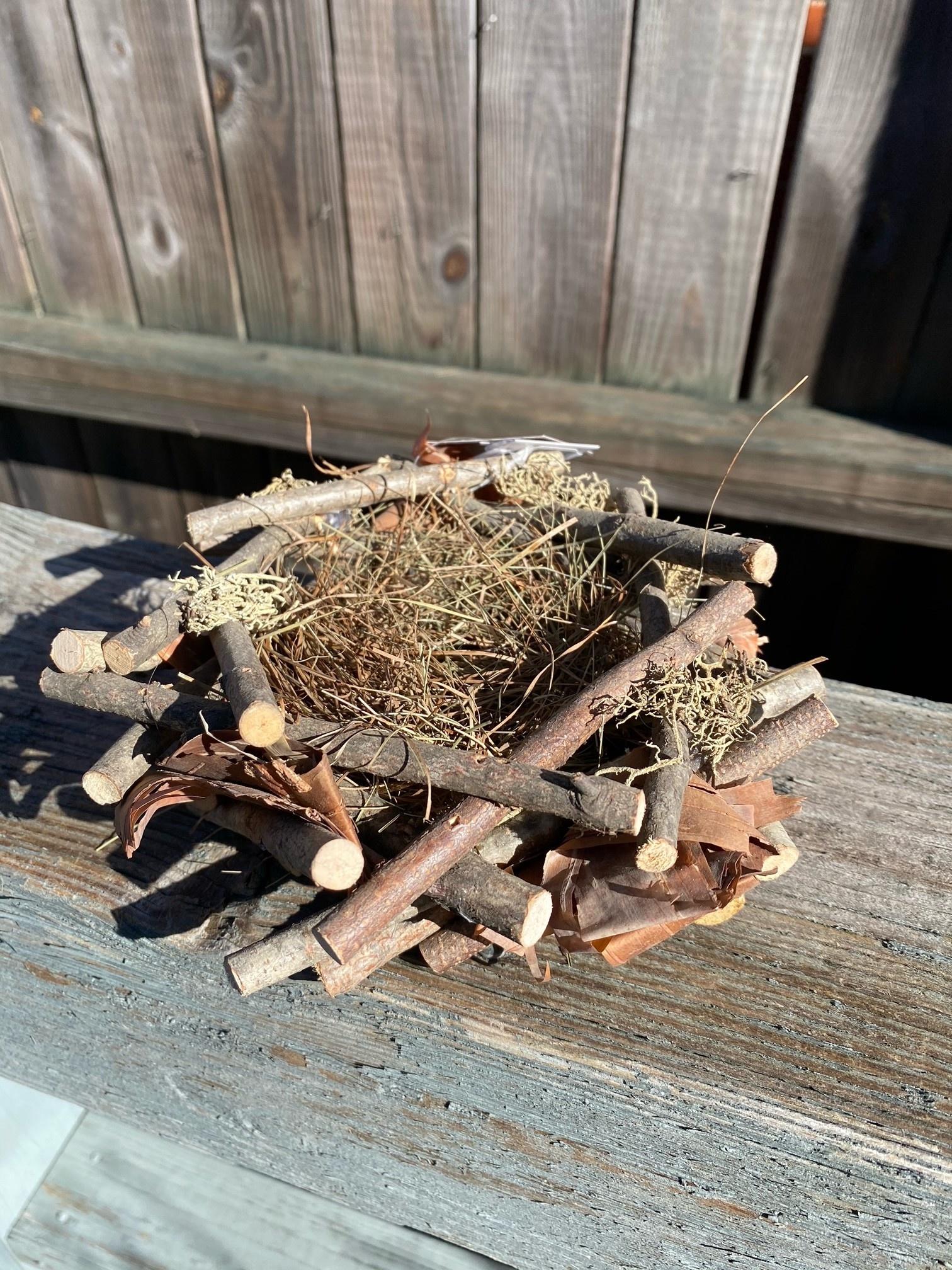 """7"""" Natural Twig Moss Bird Nest"""