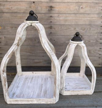 Whitewashed Wooden Open Lantern (2-Sizes)