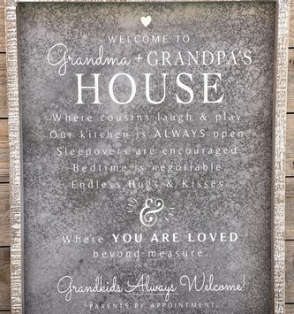 Welcome to Grandma & Grandpas House Sign (2-Colors)