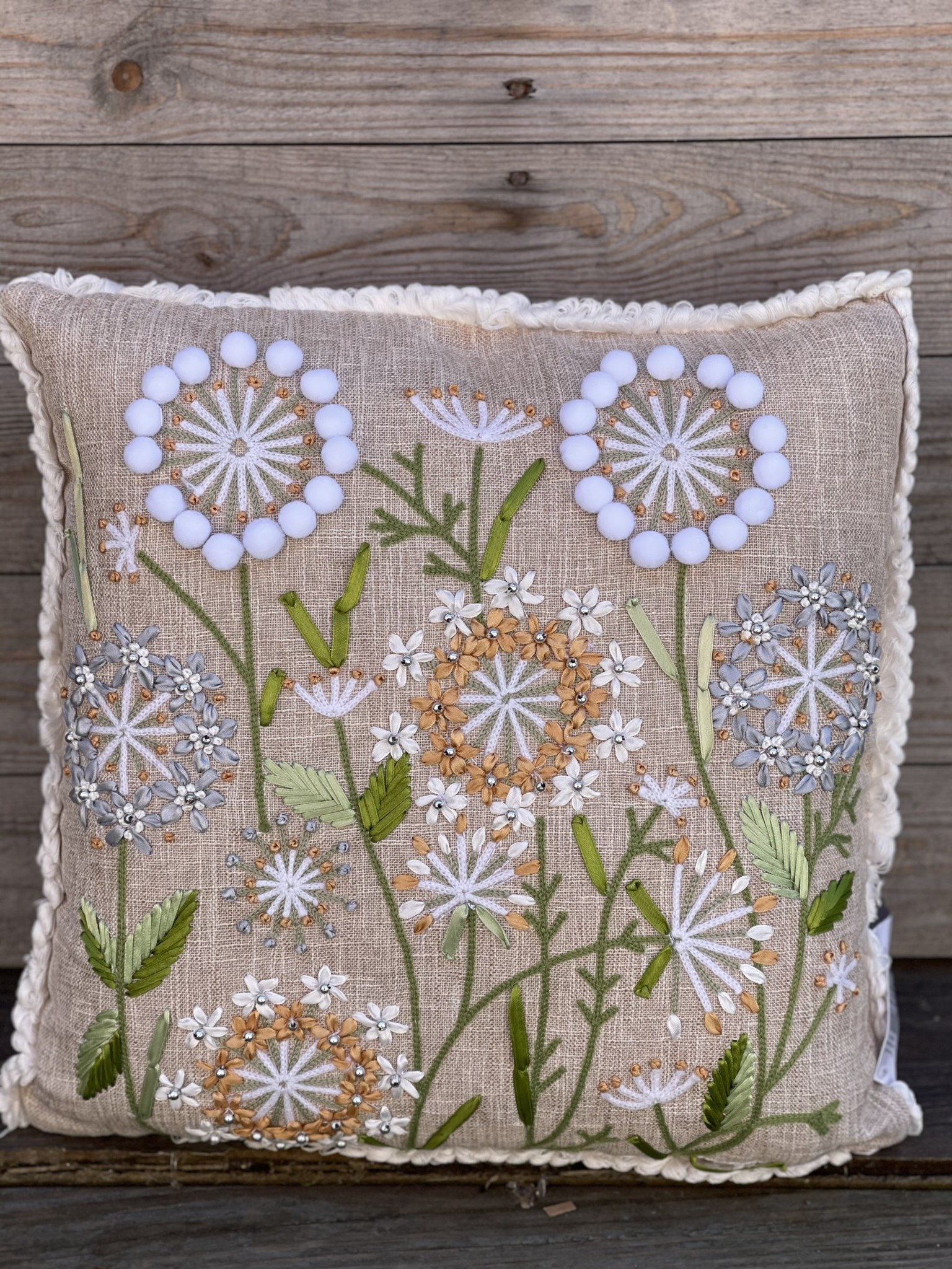 Embroidered Dandelion Pillow