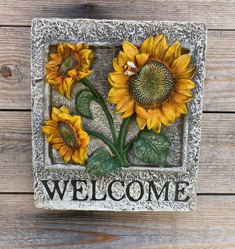Welcome Sunflower Wall Plaque