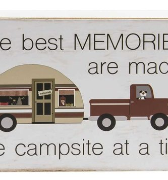 One Campsite at a Time Block Sign