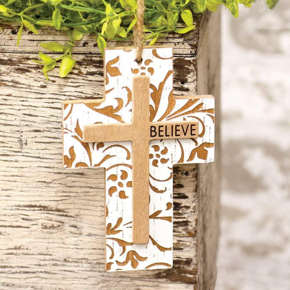 Hanging Believe Wooden Cross