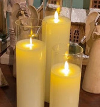 Large Set of 3 LED Battery Operated Pillar Candles w/ Remote
