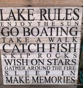 Lake Rules Reclaimed Pallet Sign (two colors)
