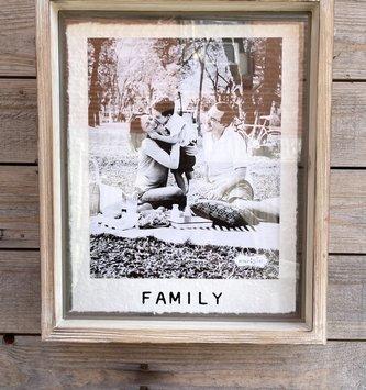 Large Whitewashed  Wooden Family Frame