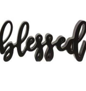 Blessed Script Word Shelf Sitter