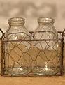 Two Bottles in Wire Basket