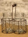 Two Glass Jars in Wire Basket