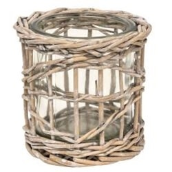 Gray Washed Willow Glass Votive Holder