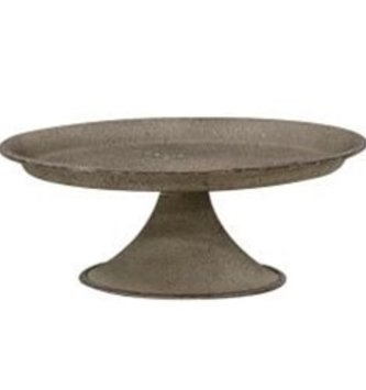 Gray Metal Pedestal Candle Tray