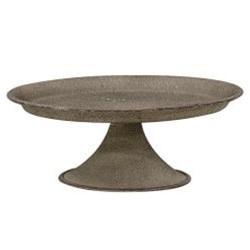 Gray Metal Pedestal Candle Tray