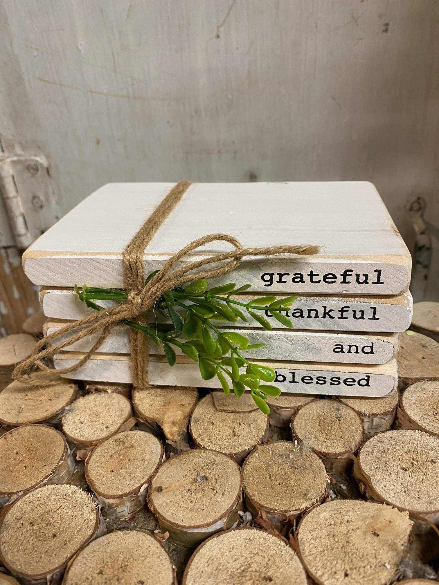 Wooden Message Book Stack (4-Styles)