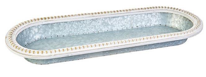 Whitewashed Beaded Galvanized Tray (2-Sizes)