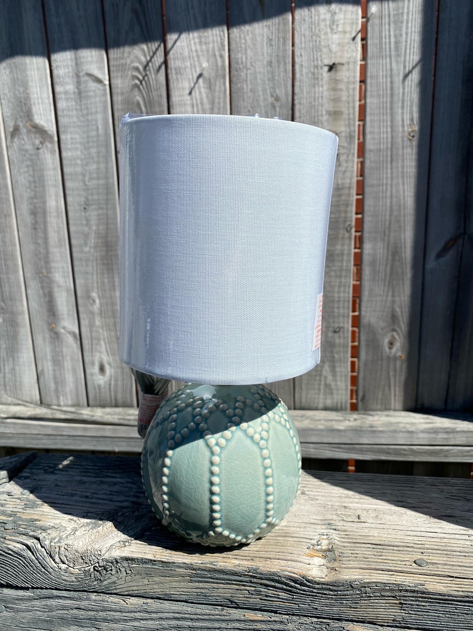 Light Teal Beaded Mini Lamp