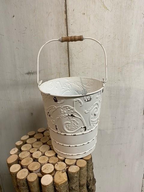 Shabby Chic Metal Embossed Bucket (2-Sizes)