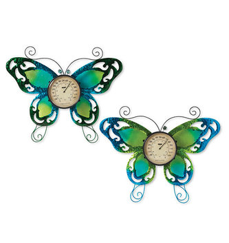 Colorful Metal & Glass Butterfly Thermometer (2-Styles)