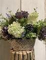 Custom Cottage Garden in Oval Patterned Pot