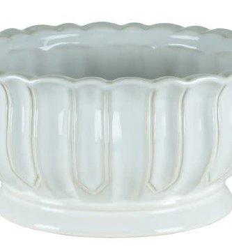 White Ribbed Ceramic Container