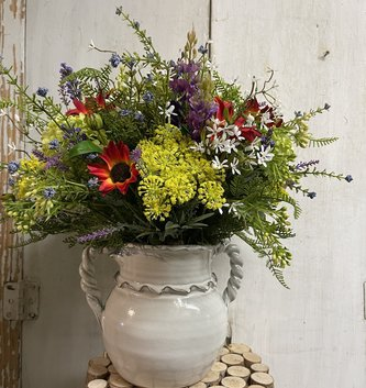 Custom Wildflower in Twisted Handle Pottery Vase