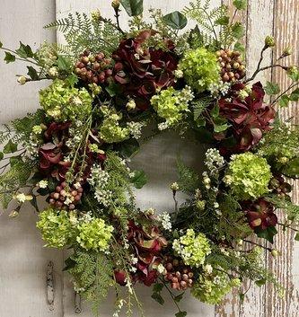 Formal Burgundy Hydrangea Wreath