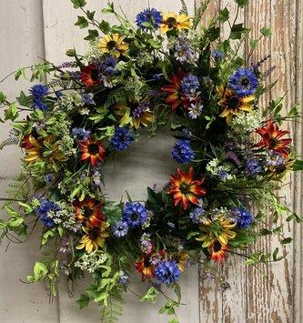 Custom Primary Wildflower Wreath