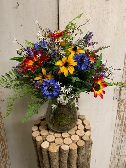 Custom Over the Rainbow Wildflowers in Glass Vase