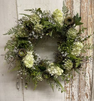 Custom Hydrangea & Twig Nest Wreath