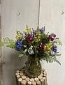 Custom Cornflower & Lupine in Glass Container