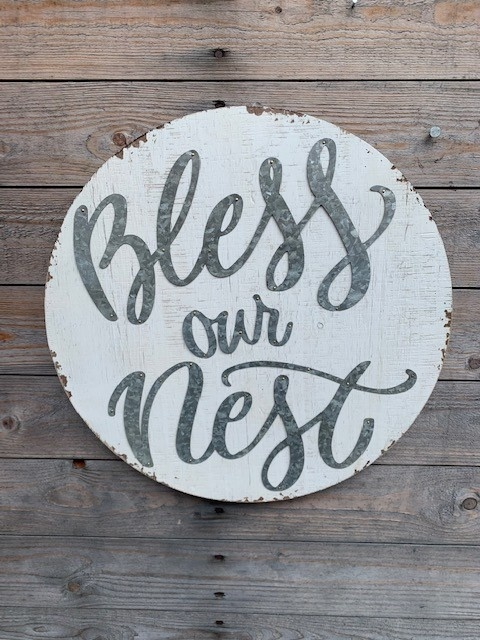 Round Distressed Bless Our Nest Sign