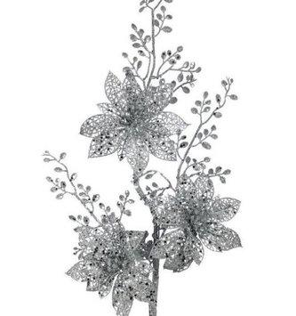 Silver Triple Poinsettia Spray