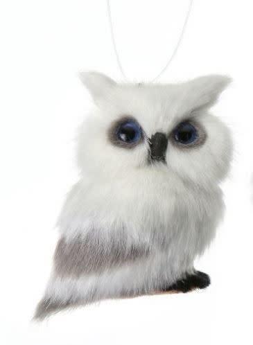 Mini Furry Snow Owl Ornament