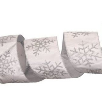Silver Glittered Snowflake Ribbon