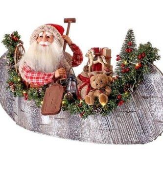 Pre-Lit Wooden Santa in Canoe