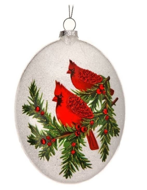 Glass Double Cardinal Beaded Ornament