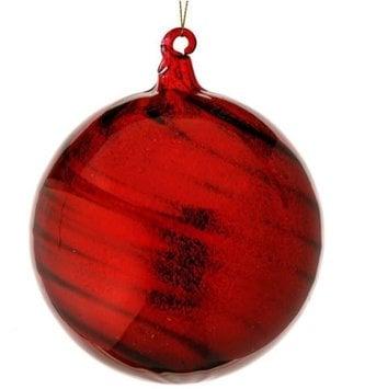 Dark Red Swirl Glass Ball