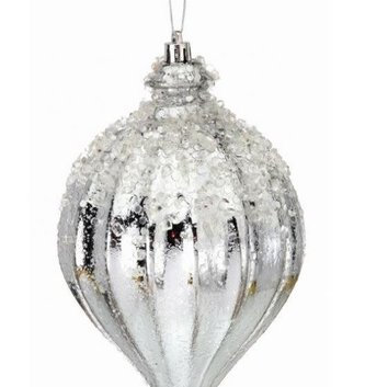 Large Silver Kismet Iced Finial Ornament