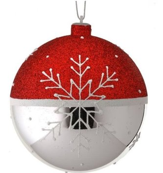 Red Silver Snowflake Ball Ornament (2-Sizes)