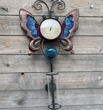 Solar Butterfly Thermometer & Rain Gauge (2-Colors)