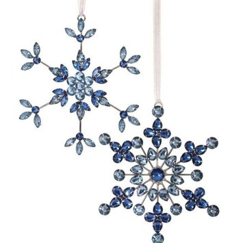 Blue Jeweled Wire Snowflake Ornament (2-Styles)