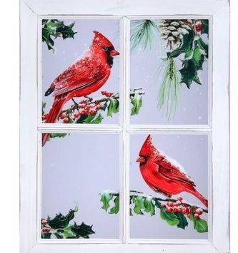 Cardinals on Vintage Window Pane Wall Art