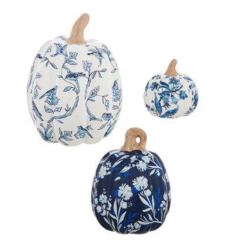 Set of 3 Blue Floral Ceramic Pumpkins