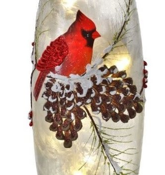 LED Frosted Cardinal Tall Cylinder Light