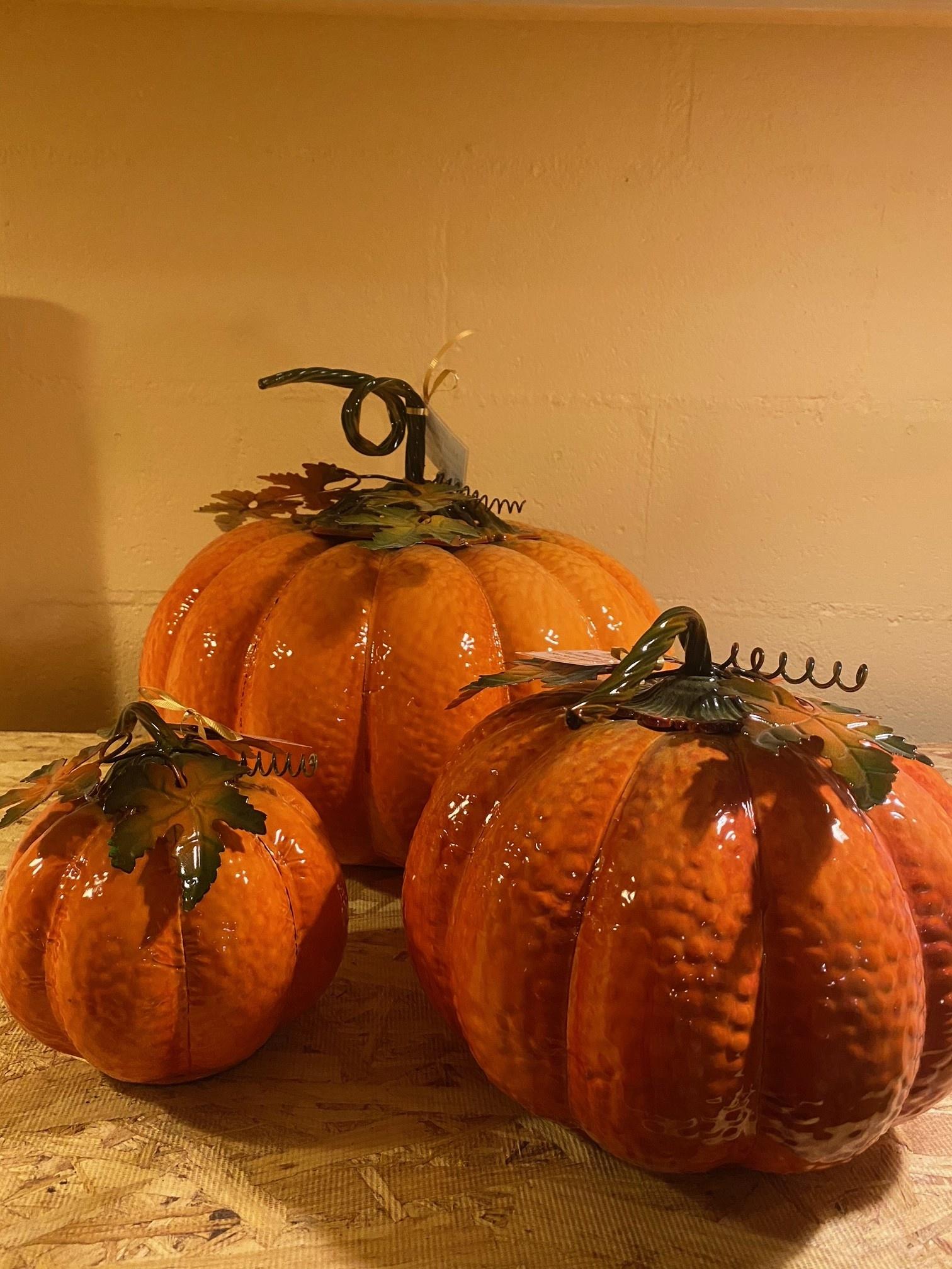 Metal Enamel Harvest Pumpkin