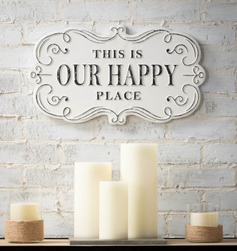 Metal Scroll Our Happy Place Sign