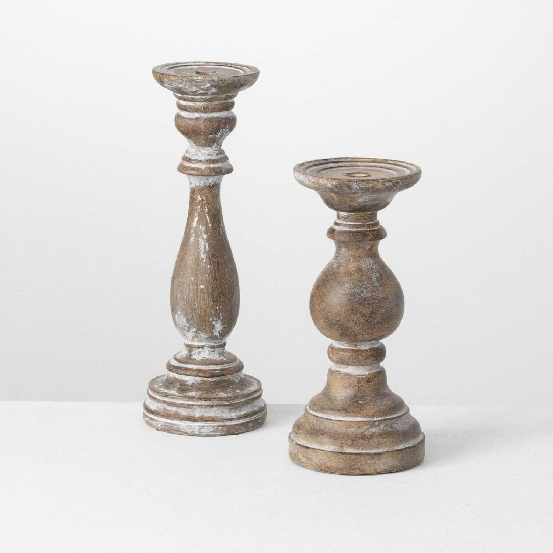 Set of 2 Greystone Pillar Candle Holders