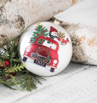 Glass Snowman & Truck Disk Ornament