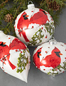 Glass Double Cardinal Berry Ornament (3-Styles)