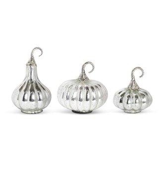 Silver Mercury Glass Pumpkin (3-Styles)