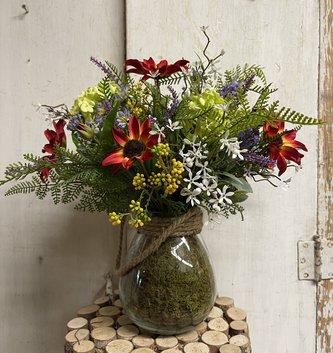 Custom Wild Flowers ll In Glass Vase w/Rope Handle